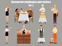Personnages de dessin animé de travailleurs de restaurant Travail de personnes dans le restaurant d'isolement Famille dînant en c illustration de vecteur