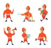 Personnages de dessin animé des sapeurs-pompiers dans des poses d'action illustration stock