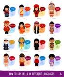 Personnages de dessin animé disant le bonjour dans différentes langues illustration de vecteur