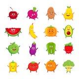 Personnages de dessin animé drôles de fruits et légumes illustration libre de droits