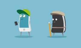 Personnages de dessin animé futés de téléphone et de journal intime Photos libres de droits
