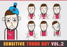 Personnages de dessin animé Gars dur sensible Photographie stock