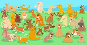 Personnages de dessin animé heureux de chiens groupe énorme illustration stock