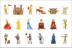 Personnages de dessin animé médiévaux et attributs européens de période historique de Moyens Âges réglés des icônes illustration de vecteur
