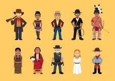 Personnages de dessin animé mignons occidentaux sauvages occidentaux réglés illustration libre de droits