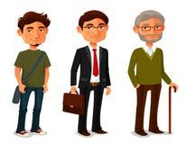 Personnages de dessin animé montrant le progrès d'âge Photo stock