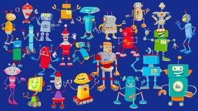 Personnages de dessin animé de robots groupe énorme illustration libre de droits
