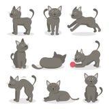Personnages de dessin animé Tabby Cat Set Vecteur illustration stock