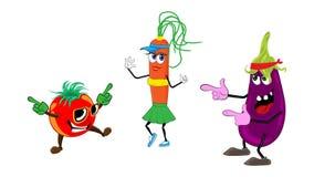 Personnages de dessin anim? Danse d'amusement de tomate et d'aubergine de carotte de trois amis les uns contre les autres illustration stock