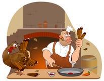 Personnages de dessin animé de dinde et de chef de thanksgiving Photos stock
