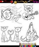 Personnages de dessin animé réglés pour livre de coloriage Photo stock