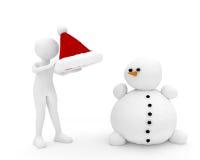 personne 3d et bonhomme de neige Photographie stock libre de droits