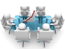 personne 3d s'asseyant à la table et ayant la réunion d'affaires Images stock