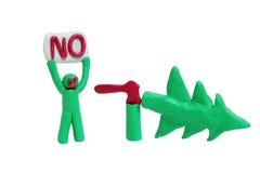 Personne contre la destruction d'Â des arbres en bois Image libre de droits