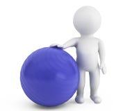 personne 3d avec la boule d'exercice de pilates Images stock