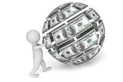 personne 3d avec la sphère de l'argent Images stock