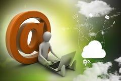 personne 3d avec le symbole et l'ordinateur portable d'email Photographie stock libre de droits