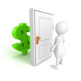 Personne 3d blanche avec le symbole monétaire du dollar derrière la porte Photographie stock libre de droits
