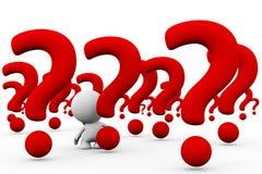 Personne 3d blanche dans un choix énorme de points d'interrogation géants illustration de vecteur