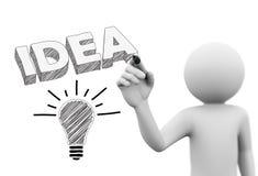 personne 3d dessinant le mot et l'ampoule de l'idée 3d Images stock