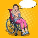 Personne d'incapacité Petite fille handicapée heureuse dans le fauteuil roulant Illustration d'art de bruit illustration stock
