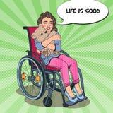 Personne d'incapacité Petite fille heureuse s'asseyant dans le fauteuil roulant Illustration d'art de bruit illustration stock