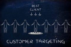 Personne dans une foule avec le meilleurs client et client Targetin de signe des textes photos libres de droits