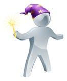Personne de magicien avec la baguette magique Image libre de droits