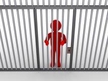 Personne derrière des barres en tant que prisonnier Image libre de droits