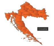 Personne distincte d'orange de carte de la Croatie Images libres de droits