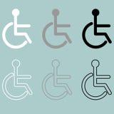 Personne handiccapped par icône invalide handicapée ou handicapé Images stock