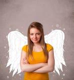 Personne mignonne avec les ailes illustrées par ange Image libre de droits