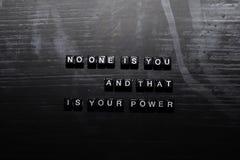 Personne n'est vous, et c'est votre puissance sur les blocs en bois r illustration stock