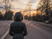 Personne portant le manteau chaud se tenant en parc au coucher du soleil Images libres de droits