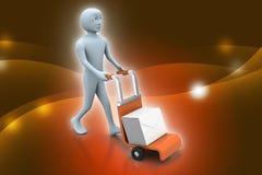 Personne poussant le chariot à main avec la boîte pleine des enveloppes Image stock