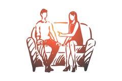 Personne, psychologue, thérapie, concept de divan Vecteur d'isolement tir? par la main illustration de vecteur