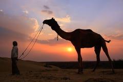 Personne silhouettée avec un chameau au coucher du soleil, désert de Thar près de Jais Photos stock