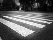 Personne sur le passage piéton en noir et blanc photo libre de droits