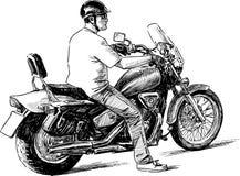 Personne sur une moto Image stock
