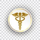 Personnel Aesculapian de santé de papier d'or de cercle illustration stock