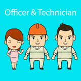 Personnel cartoon character on blue screen Stock Photos