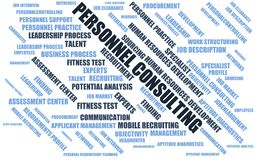 Personnel consulting - word cloud / wordcloud with terms about recruiting Stock Photography