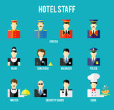Personnel d'hôtel de vecteur Image libre de droits