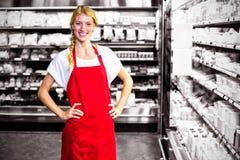 Personnel féminin de sourire se tenant avec la main sur la hanche dans la section d'épicerie photographie stock libre de droits