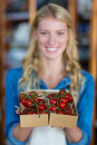 Personnel féminin de sourire tenant la boîte de la tomate-cerise sur le marché superbe Photographie stock