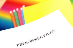Personnel files. With colorful files in background stock photo