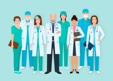 Personnel hospitalier Les hommes et les femmes de Groupe des Huit soigne et soigne des caractères se tenant ensemble Personnes mé illustration stock