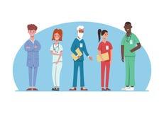 Personnel médical d'hôpital dans l'uniforme différent Services hospitaliers professionnels, mâle et équipe féminine de médecins m illustration libre de droits