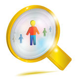 Personnel management. Concept icon. Large gold magnifying glass looking at a person. Vector illustration, isolated on white background vector illustration