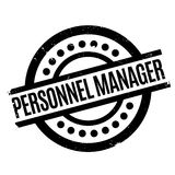Personnel Manager rubber stamp. Grunge design with dust scratches. Effects can be easily removed for a clean, crisp look. Color is easily changed stock photo